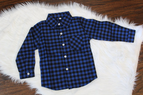 Long Sleeve Flannel Button Down - Blue