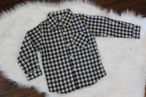 Long Sleeve Flannel Button Down - Black Check