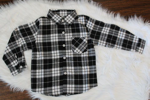 Long Sleeve Flannel Button Down - Black Plaid