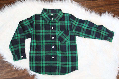 Long Sleeve Flannel Button Down - Green