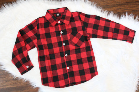 Long Sleeve Flannel Button Down - Red Buffalo Check