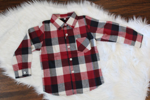 Long Sleeve Flannel Button Down - Buffalo Check