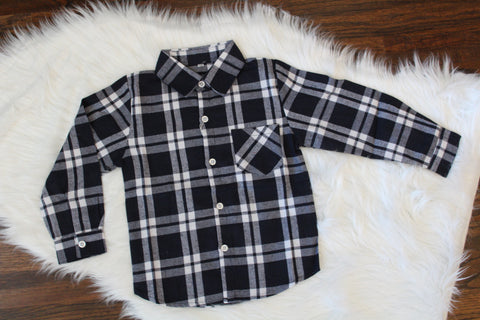 Long Sleeve Flannel Button Down - Navy Plaid
