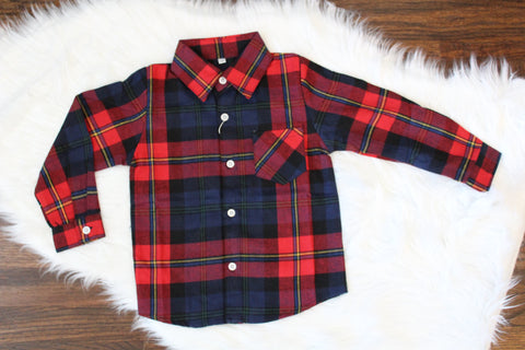 Long Sleeve Flannel Button Down - Navy/Red Plaid