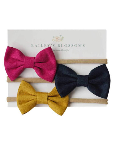 Leather Bow Headband Variety Pack - Fuschia, Navy & Mustard