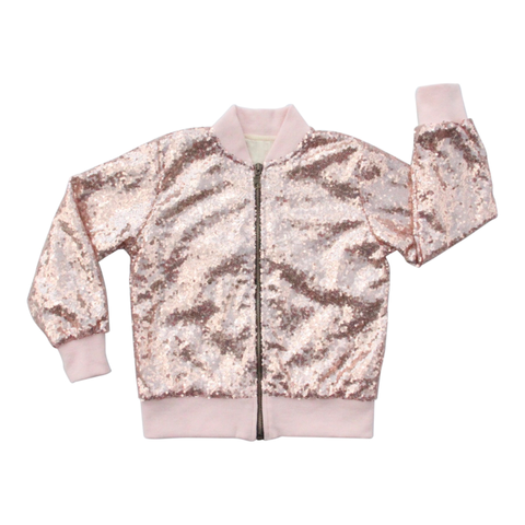 Sequin Bomber Jacket in Rose Gold