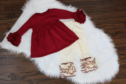 Ruffle Long Sleeve Top & Bottom in Burgundy