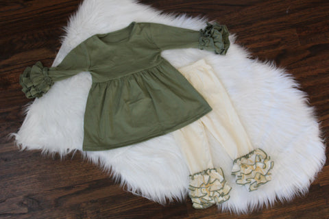 Ruffle Long Sleeve Top & Bottom in Olive