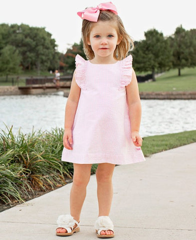 Ruffle Butts Pink Seersucker Jumper Dress