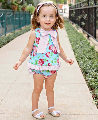 Ruffle Butts Life is Rosy Bow-Front Swing Top