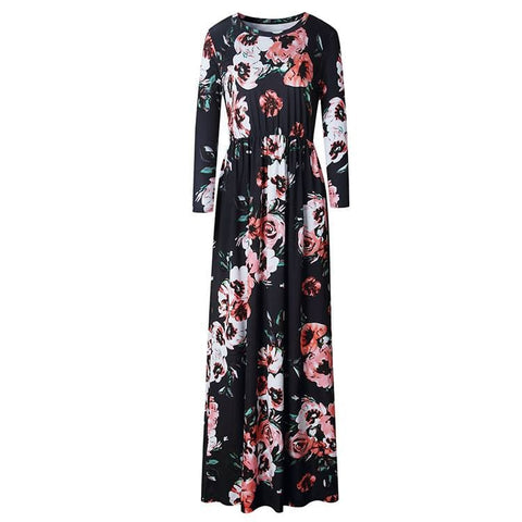 Floral Long Sleeve Maxi Dress in Navy - Adult