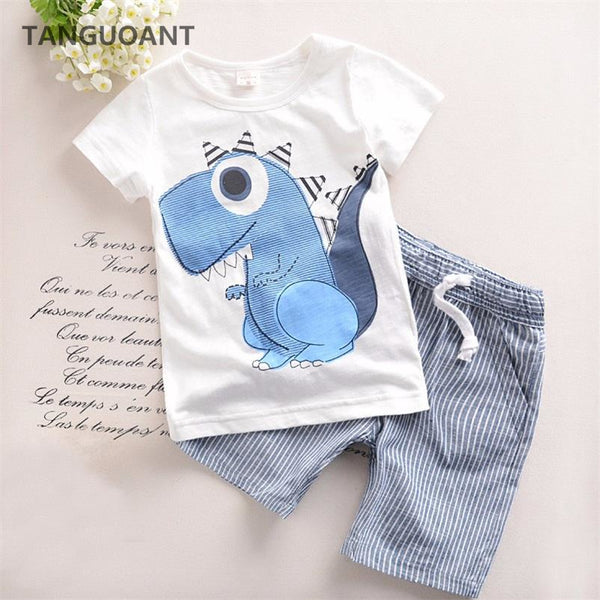 Boys Clothing Children Summer Boys Clothes Cartoon Kids Boy Clothing Set T-shit+Pants Cotton - GUANCIECOM