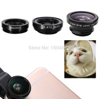 3-in-1 Wide Angle Macro Fisheye Lens Kit  Mobile Phonewith Clip 0.67x for iPhone For Samsung All Phone - GUANCIECOM