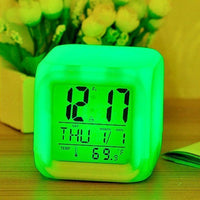 CUBE  New 7 Colors LED Changing Digital Alarm Clock Desk Thermometer -ORDERS 217