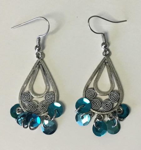 Blue sequin earrings
