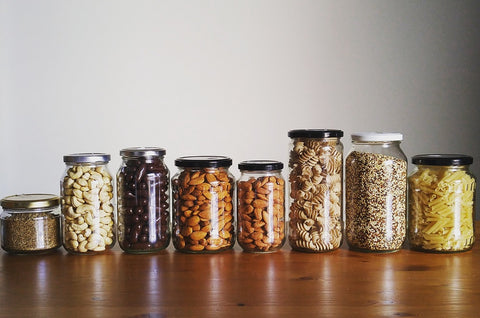 plastic free pantry, glass jar, zero plastic, plastic free kitchen