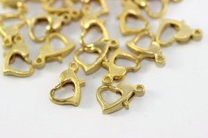 Matt Gold Plated Lobster Clasp, Heart Shape Lobster Clasp, Heart Closures, Jewelry Supplies