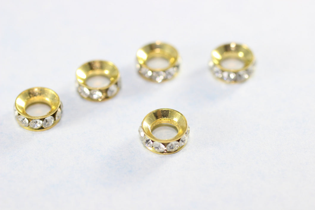 Rondelle Spacer Bead - 8 mm Gold Tone Rondelle Bead - Crystal Rhinestone - Round Spacer Beads