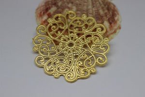 24k Gold Plated Filigree Spiral Charms, 53mm Filigree round pendant, gold plated filigree pendant, tribal filigree pendant, TRBL