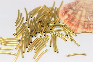 Gold Tone Curved Tube Beads, 2x20mm Spacer Tubes, Curved Beads, Thin Noodles, Brass Tubes, Spacer beads, Necklace charms, tube connectors