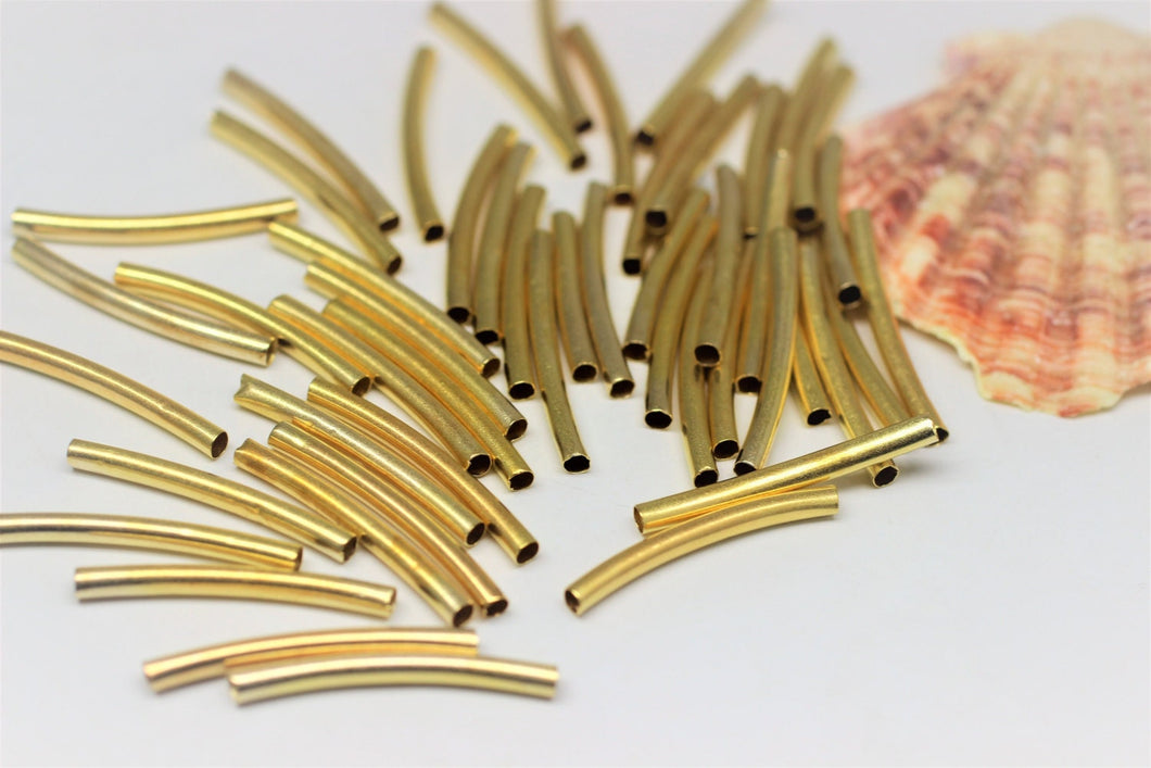 Gold Tone Curved Beads, Tube Beads, 3x30mm Spacer Tubes, Curved Tubes, Thin Noodles, Raw Brass Tubes, tube connectors, spacer beads,