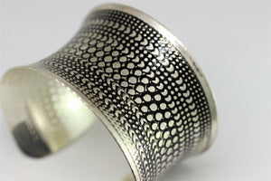 Dotted Cuff Bracelet Blank - 43 mm (1.69 inches) Cuff Blank For Bracelet Making - Antique Silver Cuff - Dotted Pattern Blank