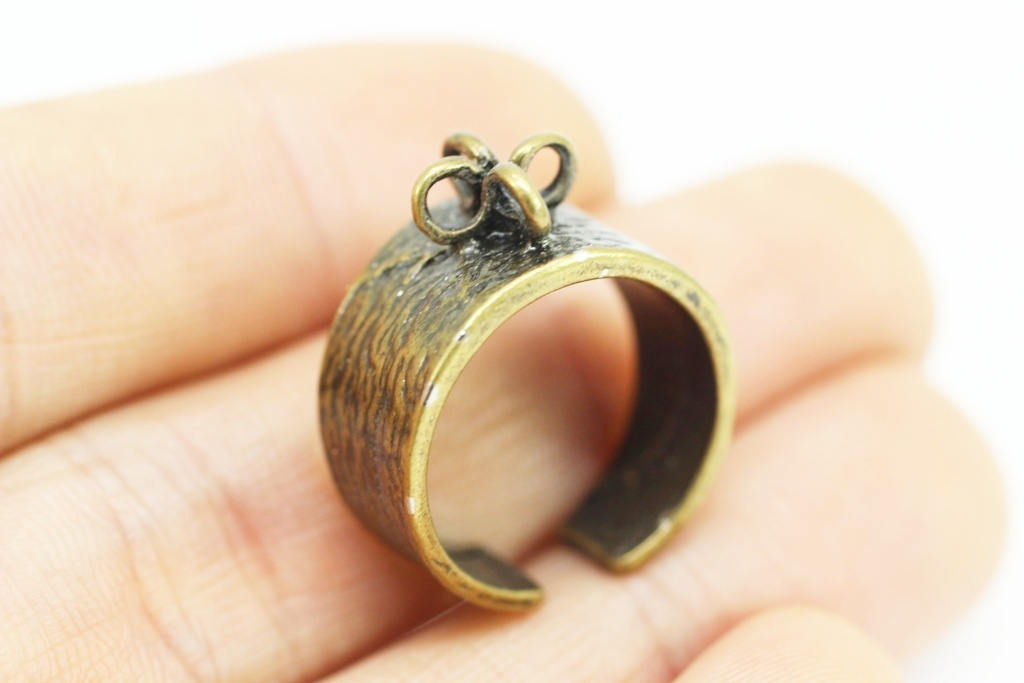 Antique Bronze Brass Costume Ring Base Blank with 4 loops, Setting Findings, Adjustable Thin Band, Cabochon base, Ring Blank, rustic ring
