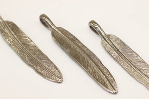 Gunmetal Feather Pendants, 9x55mm Feather Findings, Tibetan Feathers , Leaf Charms, Leaf Tags - Gunmetal Feather Charms, LFFP