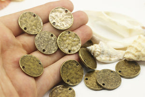 Antique Bronze Hammered Coin Discs, 22 mm Round Connectors, Bracelet Connector with 2 Holes, coin disc, Antique Bronze disc, disc charm