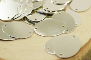 Silver Plated Oval Stamping Blanks, 23x32mm Cabochon Tags, Round Stamping Discs, Stamping Blanks, Oval Stamping Tags, Oval disc, OVLD