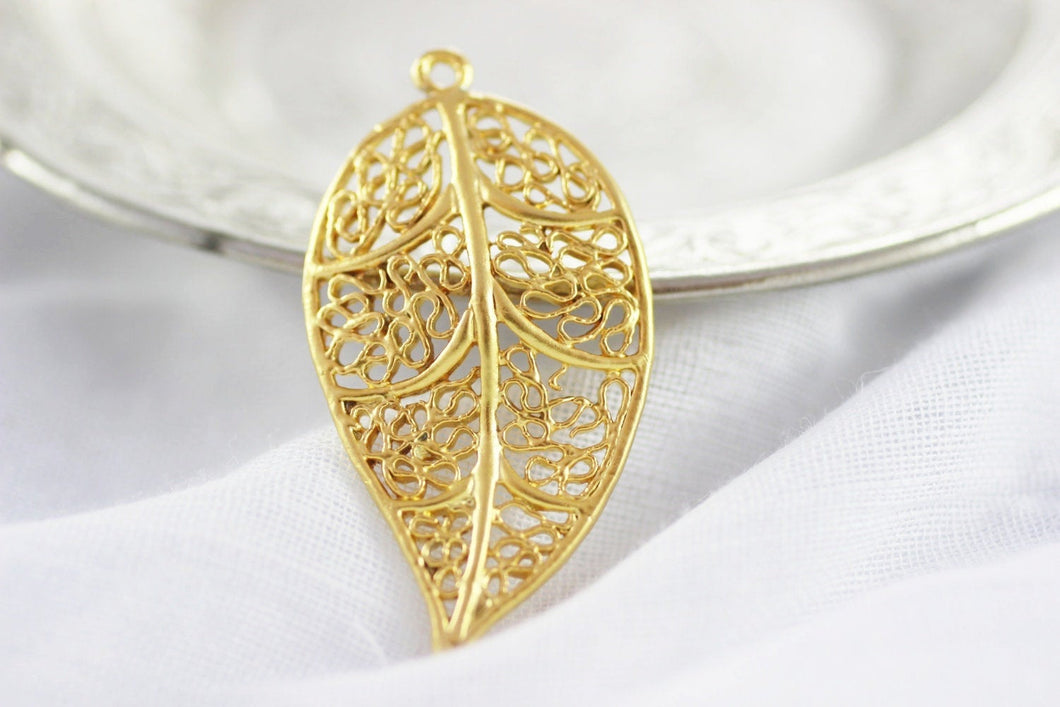 Matt Gold Plated Leaf Pendant, 21 x 40mm Leaf Design Connector With One Hole, Necklace Pendant, Leaf charms AKS 081