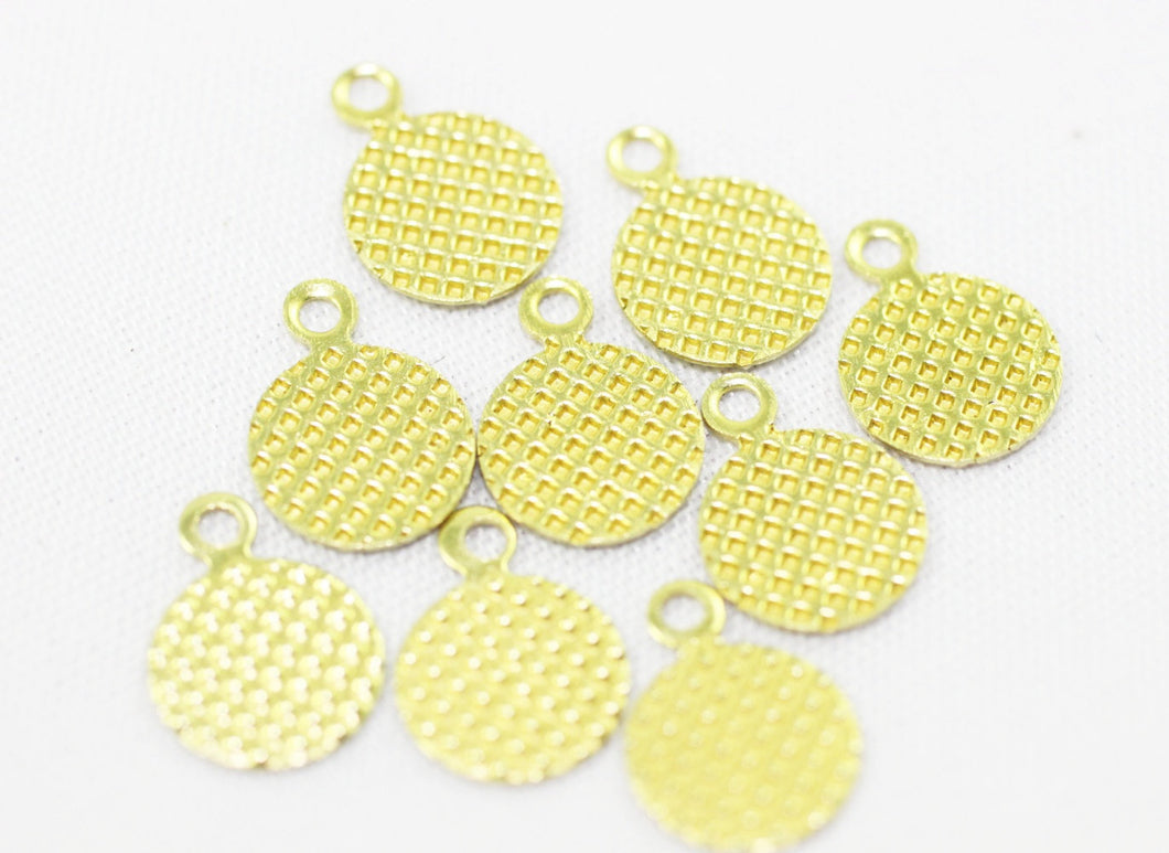 Raw Brass Puzzled Circle Tags, 8x11mm Tiny Necklace Tags, Dotted Charms, Round charms, Necklace charms, Earring charms, Puzzled charms,