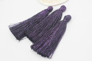 Purple Tassels, 80 mm Long Tassels, coloured tassels, tassel earrings, craft tassel, earring component, colourful tassel, PS900