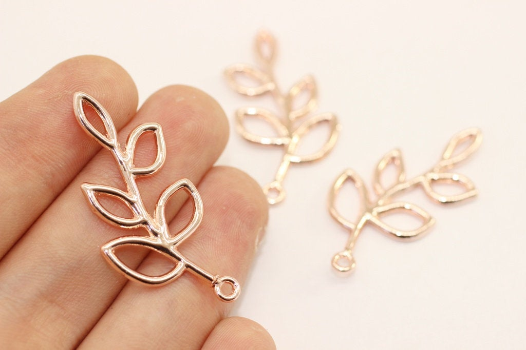 Rose Gold Plat Leaf Charm, Leaf pendant, leaf jewelry, Leaves charms, Leaf Connectors, Necklace Connectors, branch charms, olive charm, LPCR