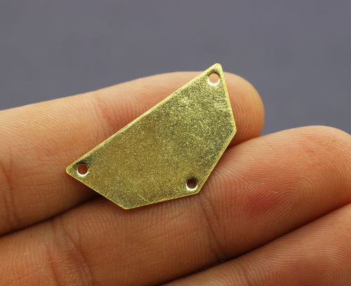 Raw Brass Geometric Blanks with 3 holes, 16x32mm Circle Blanks, Stamping Blanks, pendant blank, Brass blanks, half moon blanks, RBHC
