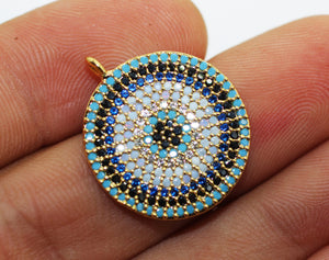 24k Gold Disc Pendant with Blue Zircon, Zircon Pendant, Circle Pendant, 20x24 mm, Disc Earrings, Zircon Disc charm, Circle Cz pendant, RNZC