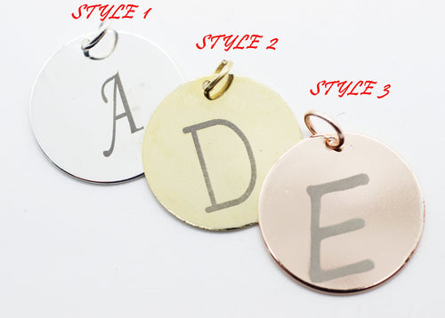 Gold Plated Alphabet Disc charms, Intial charms, Stamping Blanks, Personalized Charms, Letter Charms, Add on charms, Personalize Letter CLAC