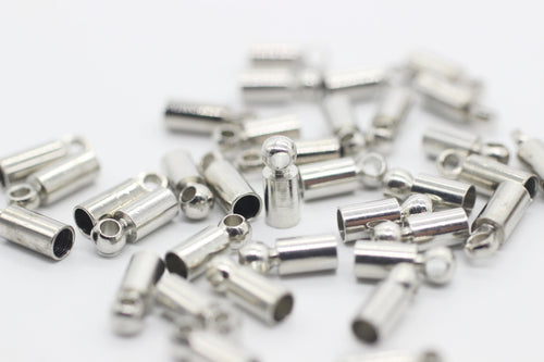 Silver Tone Cylinderic End Caps, 3x8 mm Cylinder Cord, kumihimo findings, Bead caps, Beadcaps, bead cover, Chain end, Cord end, SSBC