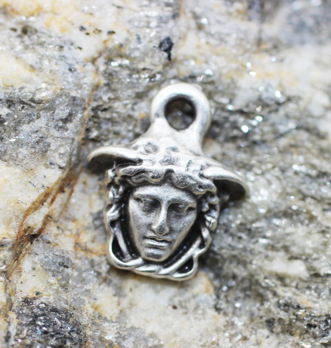 Silver Medusa charms, 13x15mm Silver Pendant, Earring charms, Greek charms, olympus charms, silver charms, medallion charms,  MDSC