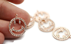 Rose Gold Cz Happy Face charms, cz jewelry, micro pave face, Face pendant, cz pendant, zirconia charms, earring charms, Necklace charm HPPY