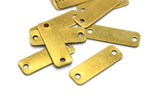 10x30 mm Brass Rectangle Charms, 2 Hole Findings, Stamping Blanks, Rectangle Tags, Necklace bar, Stamping bar, connector blanks, RCRB