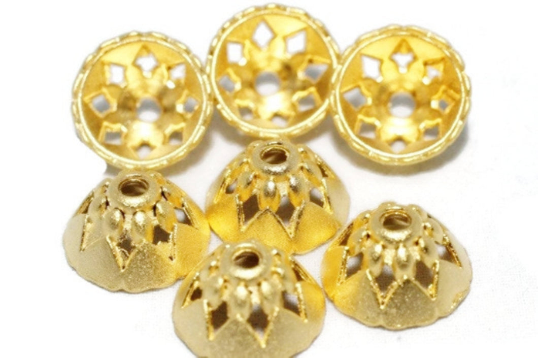 Gold Plated Bead Caps, 24K Gold Plated Caps, Geometric Gold Caps, 13x7 mm End caps, Findings, Jewellery making, flower caps, bead cover