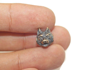 1 Pc Solid Bronze Wolf Beads, 11 x 9mm Wolf head Beads, wild wolf bead, Halloween Beads, bracelet beads, bracelet charms,  LRA 010
