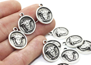 Silver Medusa charms, 19x23mm Silver Pendant, coin charms, silver charms, medallion charms, disc charm, Greek charms, olympus charms, DSNC