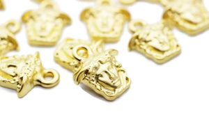 24 K Matt Gold Medusa charms, 13x15mm Gold Pendant, Earring charms, Greek charms, olympus charms, Gold charms, medallion charms,  MDSC