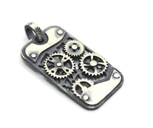 925 Sterling Silver Steampunk Charms, Necklace Charms, 16x28mm Silver Pendant, Steampunk pendant, Gear charms, Steam punk pendant,