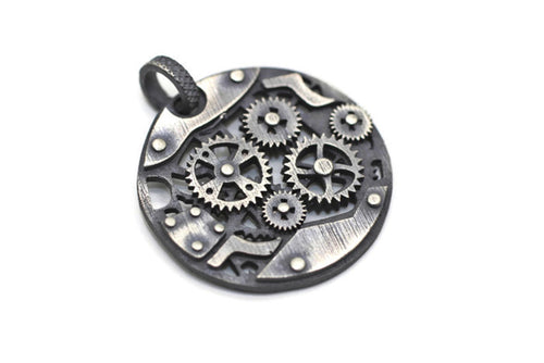 925 Sterling Silver Steampunk Charms, Necklace Charms, 26mm Silver Pendant, Steampunk pendant, Gear charms, Steam punk pendant,