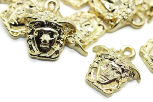 Large Shiny Gold Medusa charms, 17x19mm Gold Pendant, Earring charms, Greek charms, olympus charms, Gold charms, medallion charms,  MDSC