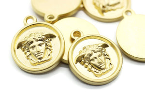 Matt Gold Medusa charms, 19x23mm Gold Pendant, coin charms, Gold charms, medallion charms, disc charm, Greek charms, olympus charms, DSNC