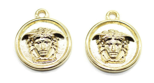 Shiny Gold Medusa charms, 19x23mm Gold Pendant, coin charms, Gold charms, medallion charms, disc charm, Greek charms, olympus charms, DSNC